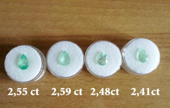 Smeraldi colombiani certificati con taglio a goccia